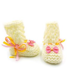 Magic Needles Crochet Boot Style Booties - Cream