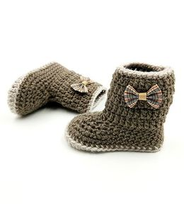 Magic Needles Crochet Boot Style Booties - Brown