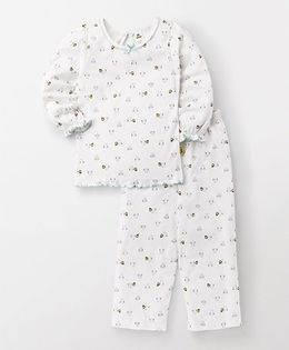 Tiny Bee Owl Printed Nightsuit - White