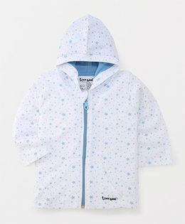 Tiny Bee Printed Hood Jacket With Zip Closure - White & Blue