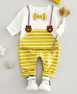 Lil Mantra Bear And Bow Applique Dungaree Design Top And Bottom Set - Yellow
