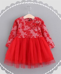 Pre Order - Dells World Flower Embroidery Frilled Full Sleeves Dress With A Bow - Red