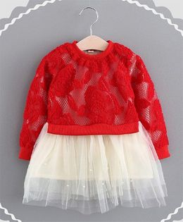 Pre Order - Dells World Adorable Rose Embroidery Full Sleeves Dress - Red & White