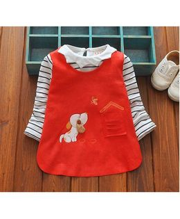 Tickles 4 U Striped Crown Collar Top With Puppy Design Dress - Red