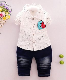 Tickles 4 U Printed Shirt & Pant Set - White