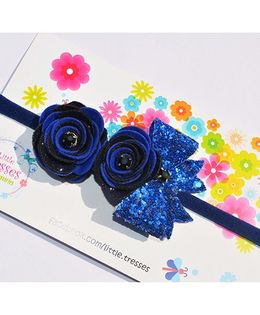 Little Tresses Double Rose With Bow On Soft Stretchable Headband - Blue & Black