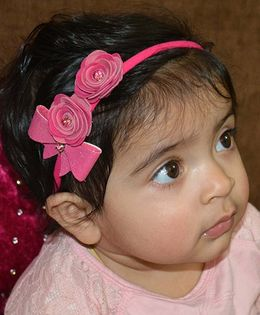 Little Tresses Double Rose With Bow On Soft Stretchable Headband - Pink