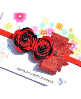 Little Tresses Double Rose With Bow On Soft Stretchable Headband - Red & Black