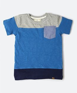 MilkTeeth Grouper Tee With A Front Pocket - Blue