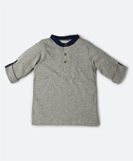 MilkTeeth Henley Collar Tee - Grey