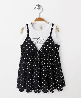 Party Princess Polka Dot Dress - Black & White