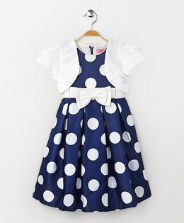 Party Princess Polka Dot Dress With Shrug - Navy & White