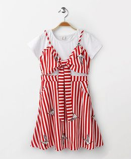 Party Princess Striped Dress - Red & White