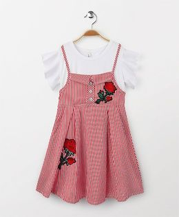 Party Princess Striped Dress With Rose Applique - Red & White