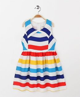 Party Princess Broad Striped Dress - Multicolor