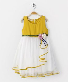 Party Princess Dress With Flower Broach - White & Mustard
