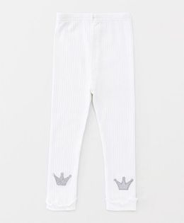 Party Princess Leggings With Crown Applique - White