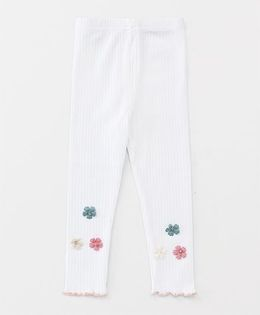 Party Princess Leggings With Flower Applique - White