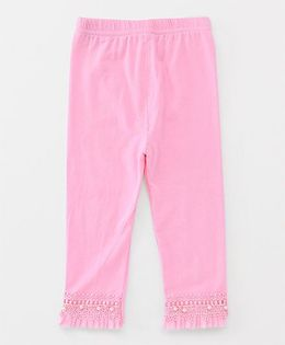 Party Princess Leggings With Lace And Beads - Pink