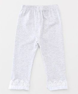 Party Princess Leggings With Lace And Beads - Grey
