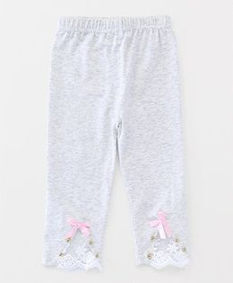 Party Princess Leggings With Lace & Beads - Grey