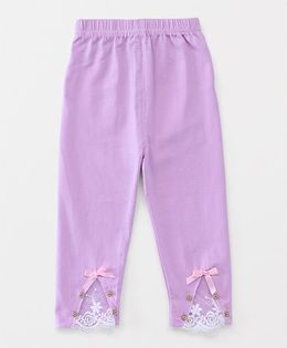 Party Princess Leggings With Lace & Beads - Mauve