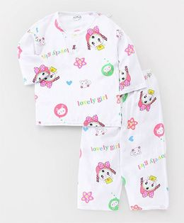 Party Princess Doll Print Night Suit - White