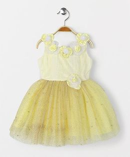 Enfance Sleeveless Party Wear Dress With Beads & Flowers - Yellow