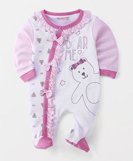 Wonderchild Printed Footie With Bow - Pink