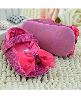 Wow Kiddos Glitter Booties With Bow - Pink