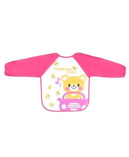 Little Hip Boutique Bear Print Full Sleeves Waterproof Bib - Pink