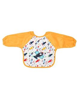 Little Hip Boutique Aeroplane Full Sleeves Waterproof Bib - Mustard