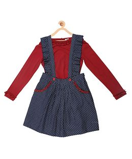 My Lil Berry Full Sleeves Ruffled Suspender Skirt And Top Set - Navy & Maroon