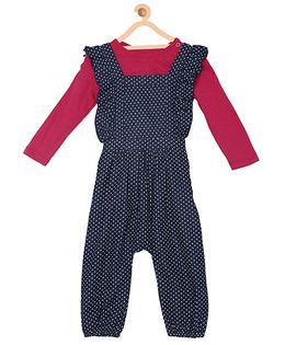 My Lil Berry Dotted Ruffled Denim Dungaree And Full Sleeves Top Set - Navy Pink