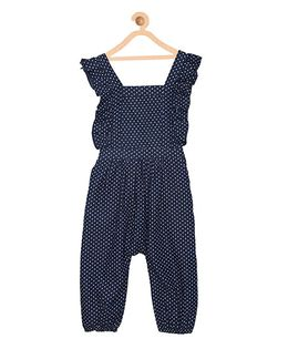 My Lil Berry Ruffled Dotted Print Denim Dungaree - Blue