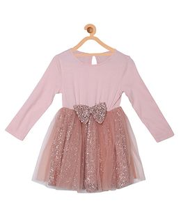 My Lil Berry Full Sleeves Fit And Flared Party Dress - Peach