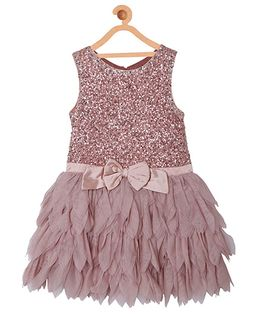 My Lil Berry Party Wear Dress With Petals Skirt - Peach