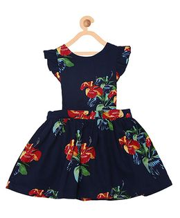 My Lil Berry Ruffled Dungaree Dress - Navy