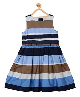 My Lil Berry Sleeveless Stripes Party Wear Dress - Blue Brown