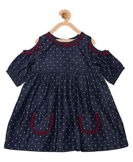 My Lil Berry Boho Cold Shoulder Denim Dress With Pom Poms - Navy Blue
