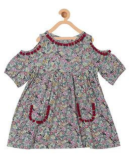 My Lil Berry Boho Cold Shoulder Floral Print Dress With Pom Poms - Off White & Multicolor