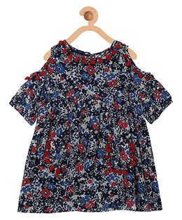 My Lil Berry Boho Cold Shoulder Floral Print Dress With Pom Poms - Blue Maroon