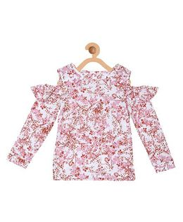 My Lil Berry Cold Shoulder Top Floral Print - Off White & Pink