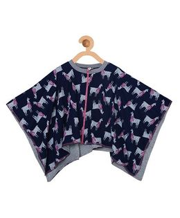 My Lil Berry Animals Print Poncho - Blue