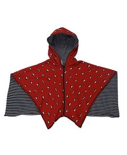 My Lil Berry Penguin Printed Poncho - Red