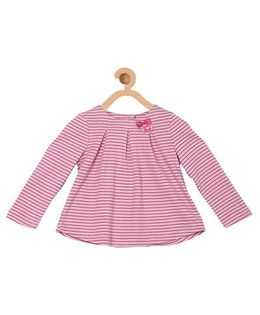 My Lil Berry Full Sleeves Stripes Top With Bow Appliques - Pink