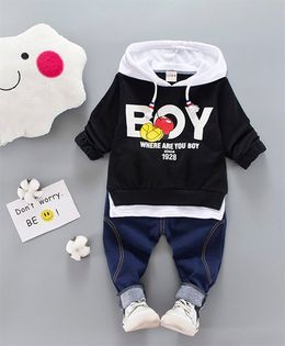 Pre Order - Tickles 4 U Boy Print Hoodie With Denim Pants - Black