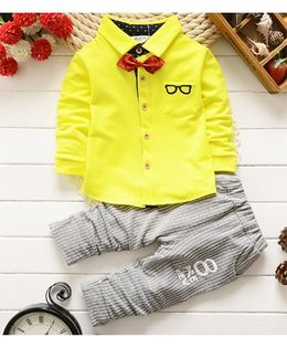 Pre Order - Tickles 4 U Glasses Print Tee & Pant Set - Yellow