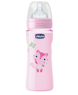 Chicco Well Being Polypropylene Feeding Bottle Pink - 330 ml