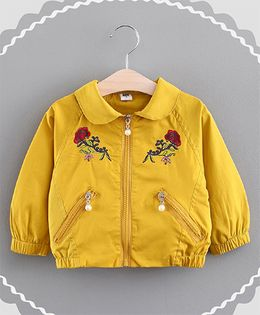 Lil Mantra Flower Embroidery Collared Jacket - Yellow